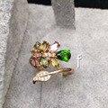 Красивые серебряные девушки кольцо натуральный турмалин и России изумрудный мода изящных ювелирных изделий настоящее кольцо стерлингового серебра 925 для женщины