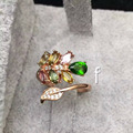 Beautiful silver girls ring natural tourmaline and Russian emerald fashion fine jewelry real 925 sterling silver ring for woman
