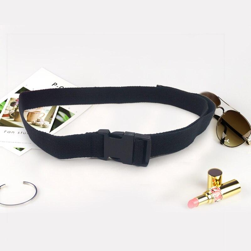 Модный черный холщовый ремень для женщин, повседневные женские поясные ремни с пластиковой пряжкой Harajuku, однотонные длинные ремни ceinture femme - Цвет: Black