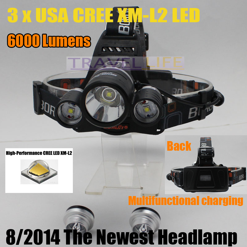 Headlamp 6000 Lumens 3x CREE XM-L2 LED High Power Headlight Light Lamp Rechargeable +2*18650 battery + Charger - Pomato Technology Co., Limited store