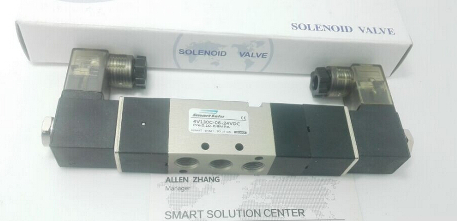 5pcs Free Shipping 1/8'' Double Head 3 Position Close Type 4V130C-06 Solenoid Valve DC 24V AC220, DC12, pneumatic valve with led free shipping dsg 02 3c4 rc 3 8 solenoid operated directional valve 220v ac terminal box type or plug in connector type