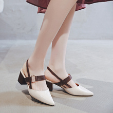 Women Spring Summer Hollow Coarse Sandals Shallow Pointed Toe Pumps Shoes Women Sexy Block High Heels A121