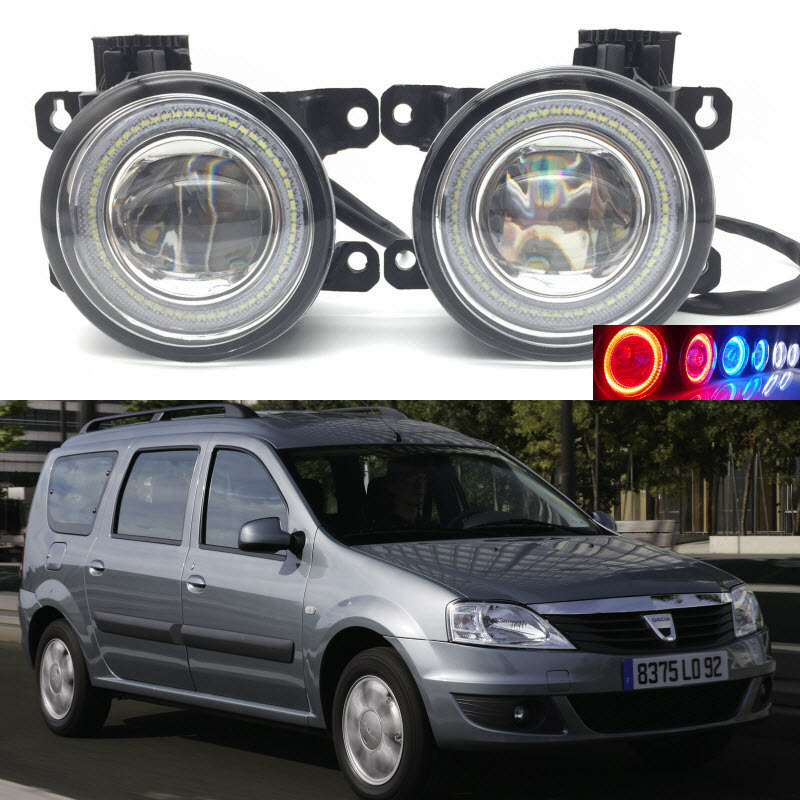 For Dacia Logan MCV 2007-2017 2-in-1 LED 3 Colors Angel Eyes DRL Daytime Running Lights Cut-Line Lens Fog Lights Car Styling car styling 2 in 1 led angel eyes drl daytime running lights cut line lens fog lamp for land rover freelander lr2 2007 2014