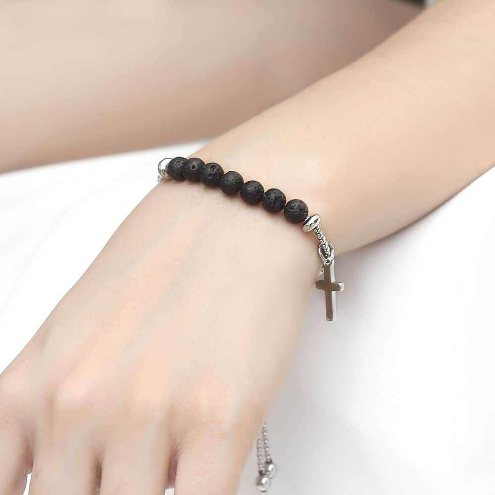 Trendsmax Cross Lava Beads Stone Bracelet For Mens Womens Black Essential Oil Diffuser Stainless Steel Adjustable Jewelry DB207