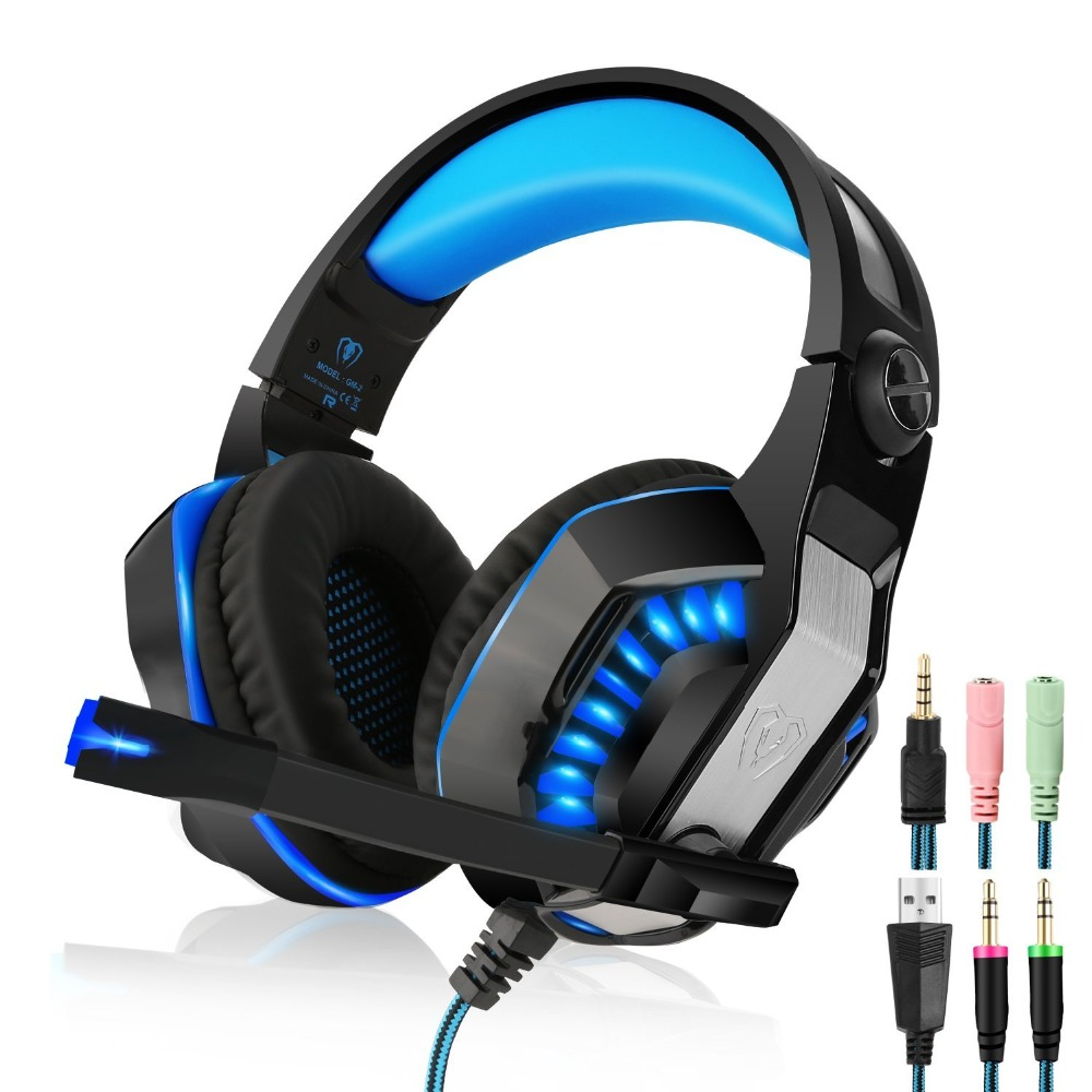 EACH G2000 Upgrade GM-2 Over-ear Gaming Headset for PC Gamer Computer Tablet PS4 Gaming Headphone with Mic LED Light teamyo n2 computer stereo gaming headphones earphones for mobile phone ps4 xbox pc gamer headphone with mic headset earbuds