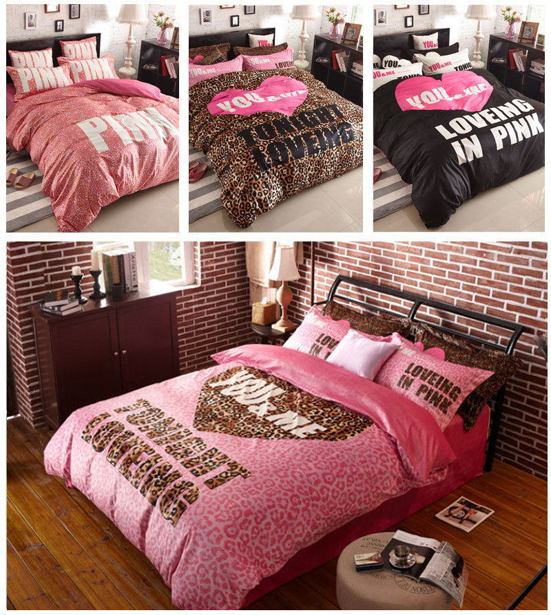 online kaufen gro handel rosa leoparden bettw sche aus. Black Bedroom Furniture Sets. Home Design Ideas