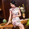 Venta caliente de Las Señoras del Estilo Chino Tradicional Cheongsam Clásico Satén Mini Vestido Qipao Vestido Tamaño de la Ropa Sml XL XXL 246000