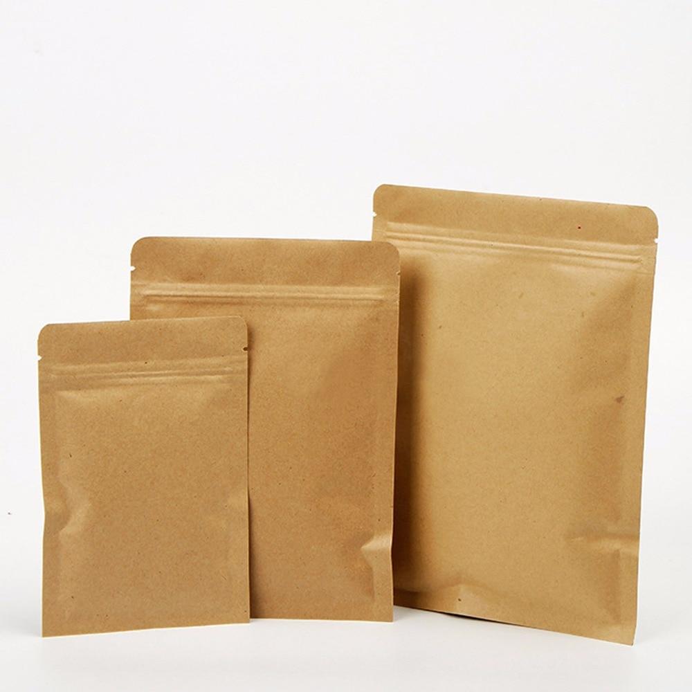 50 Pcs Kraft Paper Zip Lock Bags Pouches,Kraft Foil Zip Lock Bags,Kraft Aluminum Foil Bags For Tea Packaging Width 6cm To 20 Cm