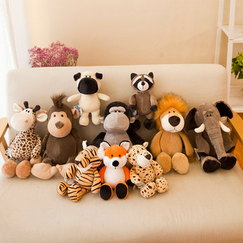 25/35cm Cute Plush Animal Toy Fox Raccoon Giraffe Orangutan Monkey Tiger Lion Elephant Dog Sweetheart Baby  Sleeping Gift