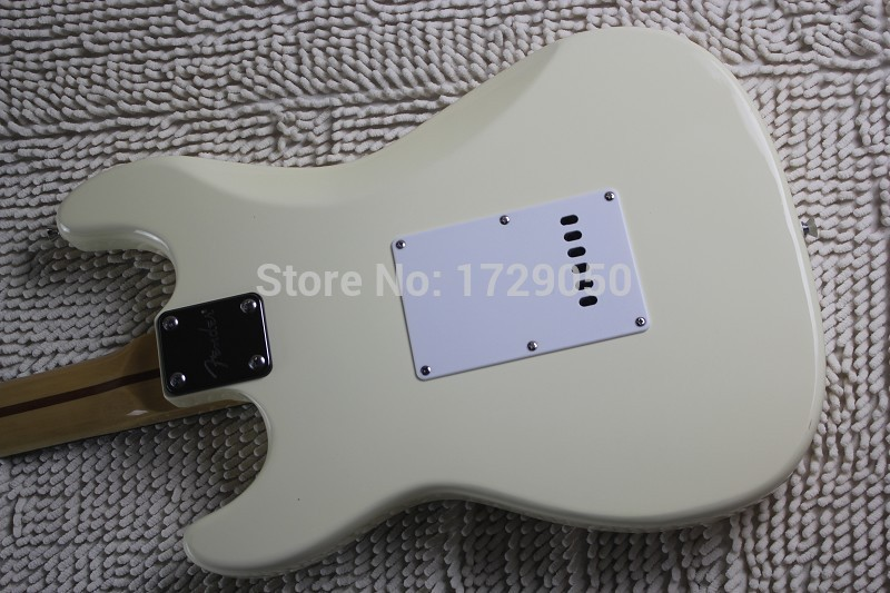 Chinese musical Instruments Factory custom 2017 New Milky white color ST Electric Guitar black Pick Guard free shipping 412
