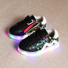 Free Shipping new design Brand Children Shoes Led Light For Boys Girls Rubber soles Hook & Loop Kids Shoes with light