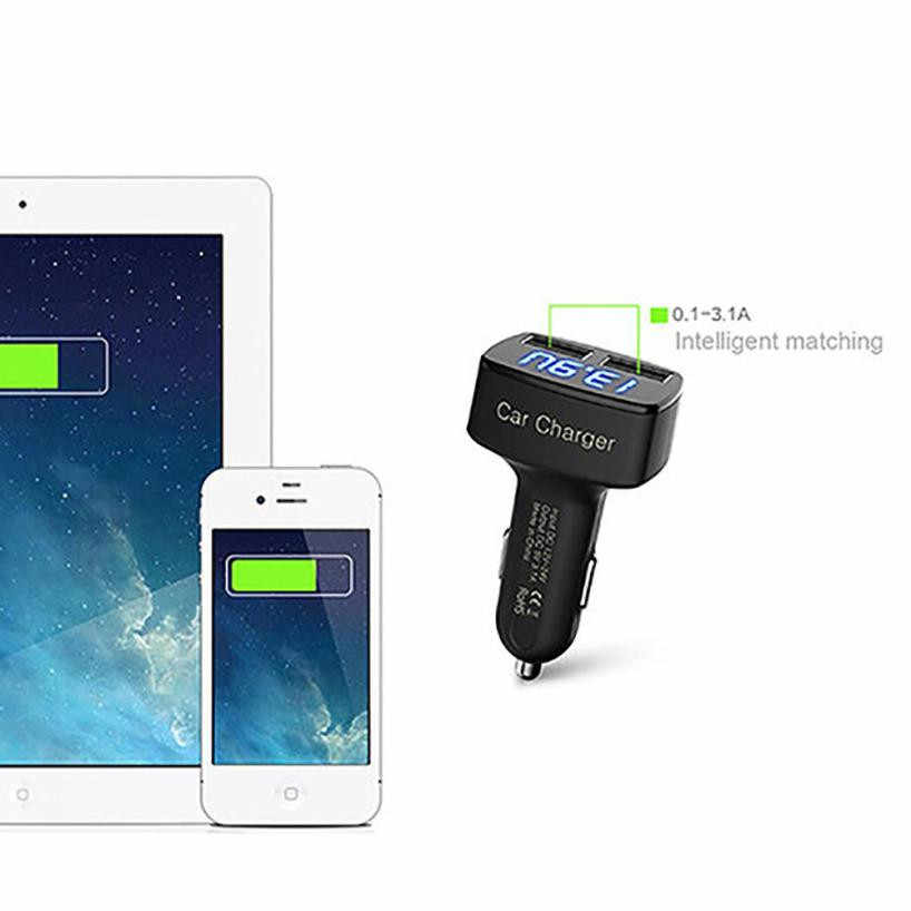 Black 4 In 1 Dual USB Car Adapter Voltage DC 5V 3.1A Tester For iPhone Switch Panel Auto Charger Voltage Meter Power Charging