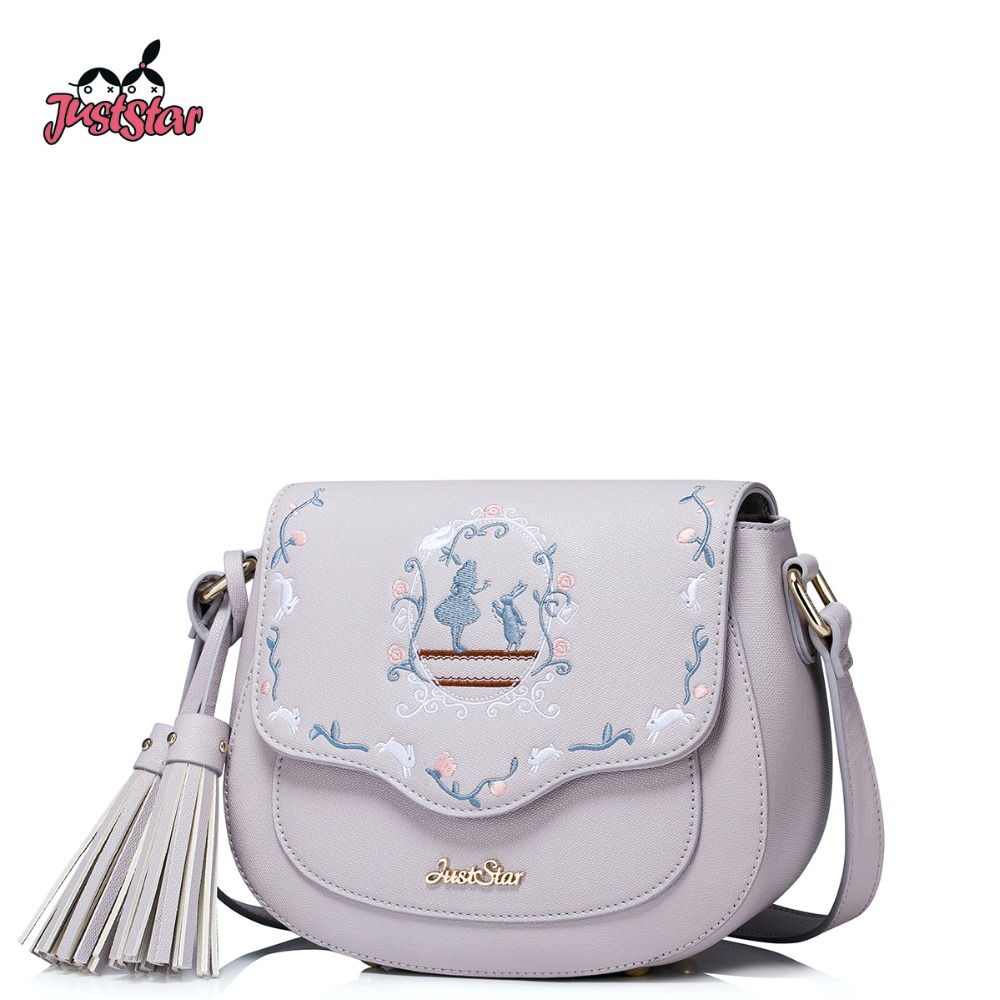 JUST STAR Women's PU Leather Messenger Bags Ladies Embroidery Shoulder Purse Female Tassel Leisure Saddle Crossbody Bag JZ4271 just star women s pu leather messenger bags ladies embroidery shoulder purse female chain leisure whale crossbody bags jz4468