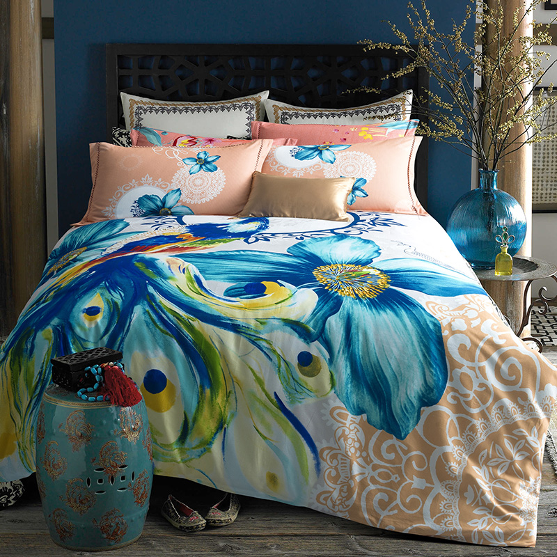 Bright Colored Peacock And Flower Watercolor Bedding Set Queen King Size  Duvet Cover Bed Sheets Sanding Cotton Home Textile Sets In Bedding Sets  From Home ...