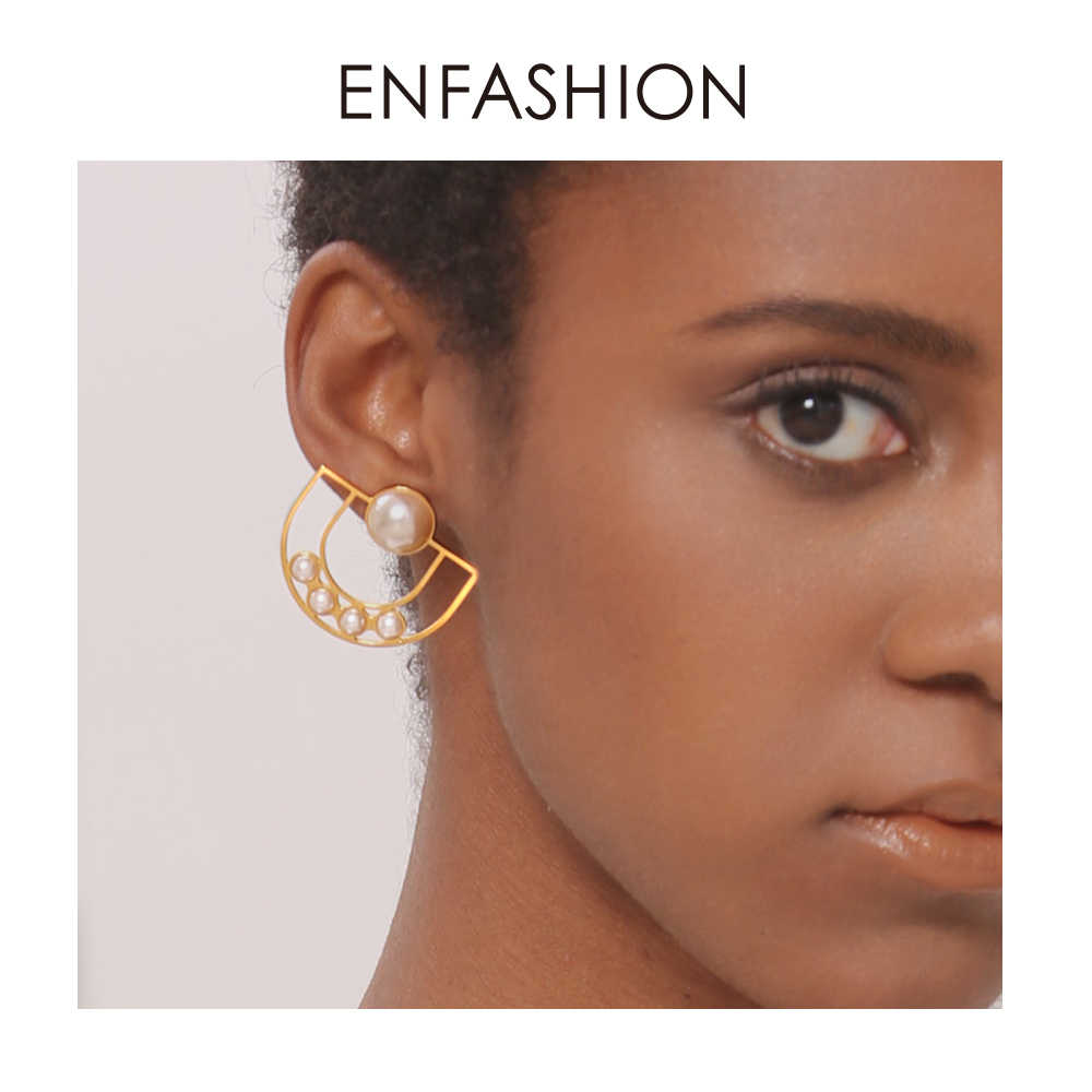 Enfashion U and Pearl Earring Stainless Steel Stud Earrings For Women Earings Fashion Jewelry Boucle D'oreille EDS181062