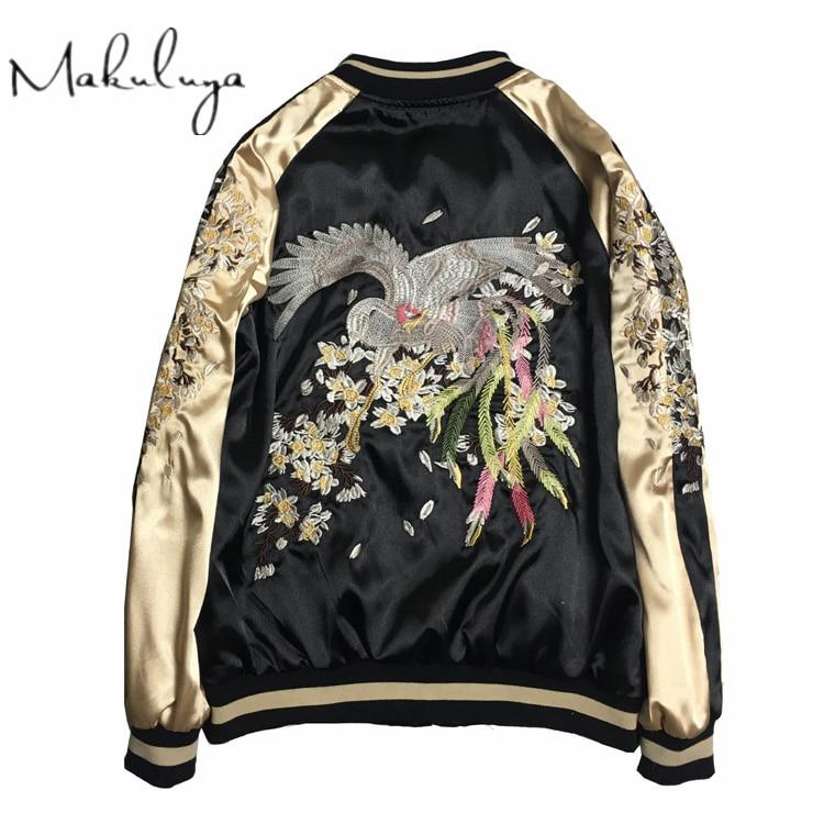 Makuluya Reversible Coat Street Style Women Men Printed Long-Sleeved Embroidery Baseball Casual Jacket Outerwear PLUS SIZE QW