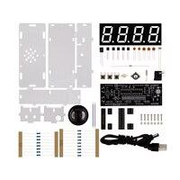 DIY Kit Красный светодиодный микроконтроллер электронные часы цифровые часы термометр с говорящими часами и PDF