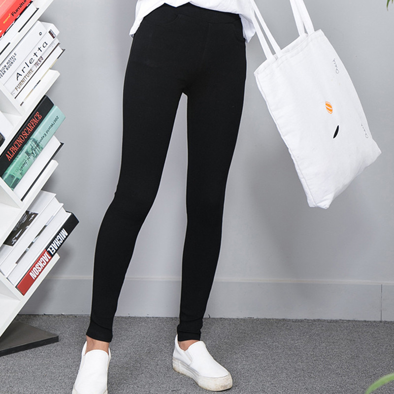 2017 New Sexy Skinny Leggings Women Legging Pocket Solid High Waist Elastic Ankle-Length Pencil Pants Black White Leggings