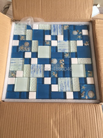 Mediterranean Sea Syle Blue Crystal Glass Mosaic Tiles for wallfor bathroom shower swimming pool DIY decorate 11pcs size 30*30cm