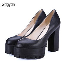 Gdgydh 2017 New Spring Autumn Casual Shoes Women Thick Heels Platform Pumps Russian Shoes for Women High Heels Work Big Size 42