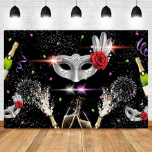 NeoBack Silver Masks Rose Flower Masquerade Party Background for Photo Champagne Black Birthday Photography Backdrops
