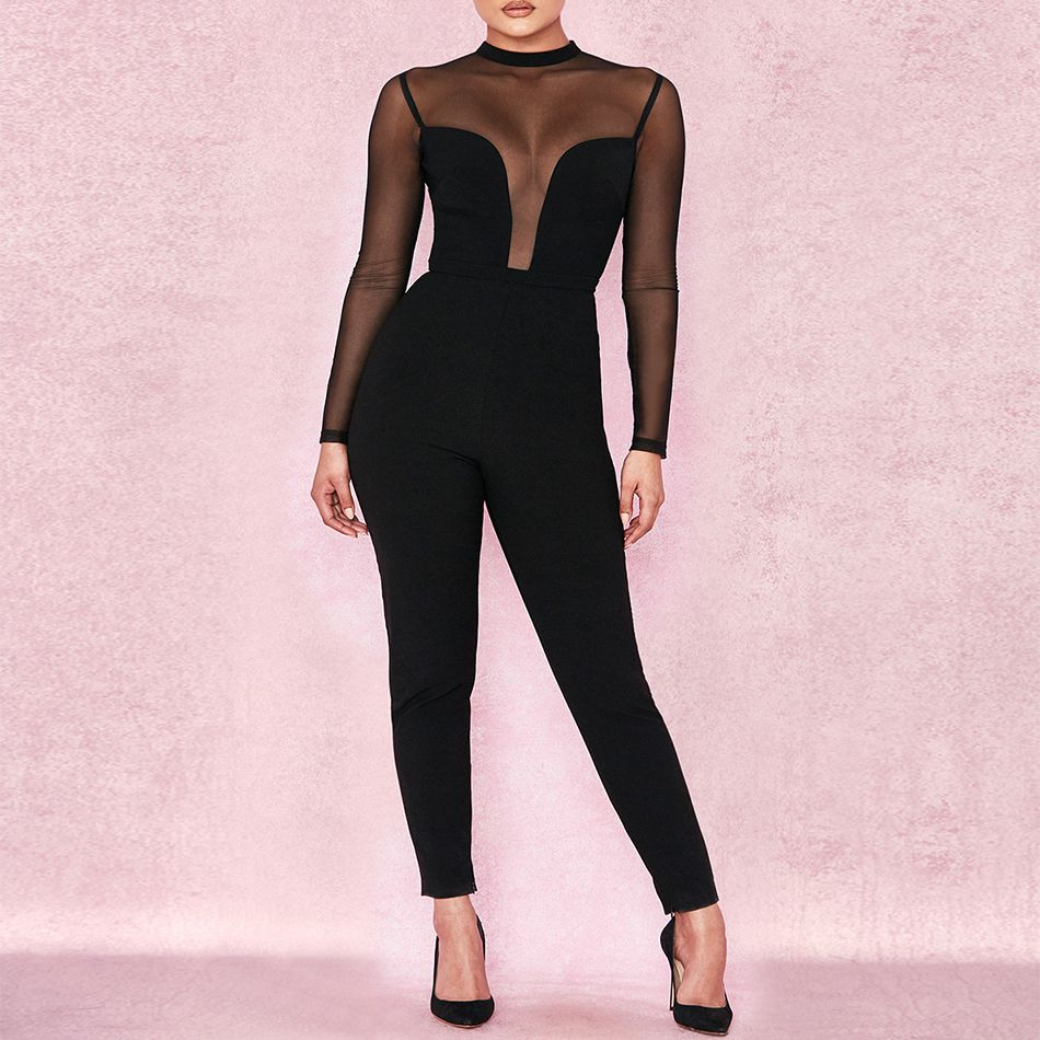 Celebrity Party Bandage Jumpsuit Women Black Long Sleeve O-Neck Mesh Sexy Night Out Bodycon Bodysuit