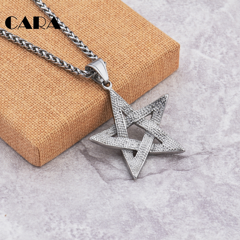 2019 New Arrival Chici punk tape star necklace charm well polished stainless steel necklace pendant for men jewelry CAGF0200 in Pendant Necklaces from Jewelry Accessories