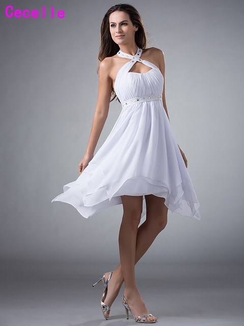 b821b0f1d618 Hot New Real White High Low Homecoming Dresses Short 2019 Halter Beaded  Chiffon Summer Homecoming Party
