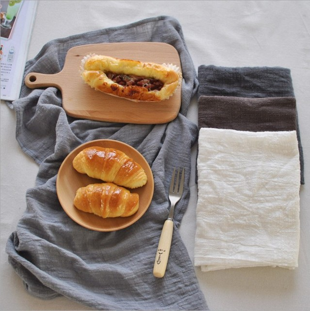 New Solid Color Gray Brown White Thin Cotton And Linen Napkin Cloth Single Layer One Side Placemat 3030CD