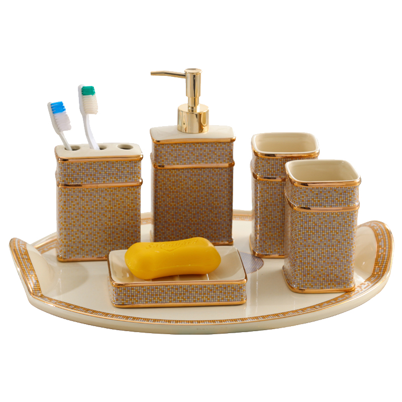 Bathroom set ceramic Soap liquid dispenser Toothbrush holder bathroom Tray for supplies