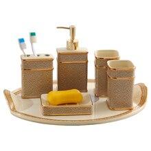 Bathroom set ceramic Soap liquid dispenser Toothbrush holder bathroom Tray for supplies