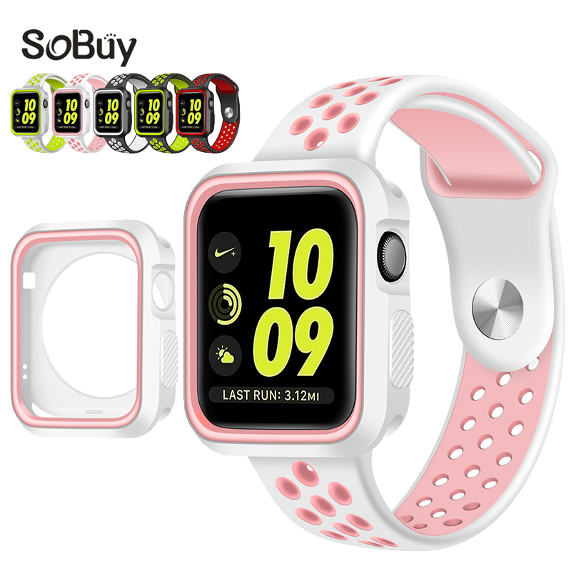 So buy protective case 38mm Silicon Sports Band wrist Strap for Apple Watch iwatch 42mm Bracelet Series 3 2 1 Silica gel shell