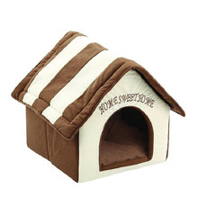 Fashion Pet Cat House Soft Dog Beds For Small Medium Dogs Cama Para Cachorro Cat Bed Nest With Mat Puppy Kitten Sleeping Cushion(China)