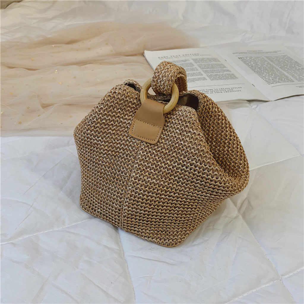 Simples chapéu de Palha Rodada bolsa de ombro Mulheres Handmade Woven Bohemian saco de Grande capacidade Bolsa saco de Praia Verão Senhora de vime rattan # DX