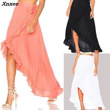 2018 Brand New Women Girls Long Maxi Chiffon Skirt Prom Gown Beach Boho Summer Holiday Sundress Xnxee