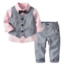 Cheap Wholesale Pink Cotton Shirt + Gray Vest Trousers Bow Tie Gentleman Formal suit Children Clothes Boys Suit For Wedding