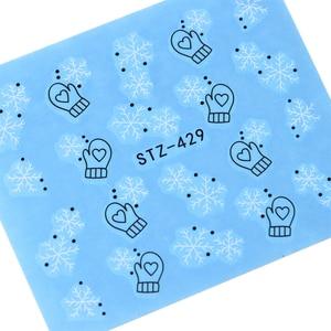 Image 3 - 30PCS/Set Snowflake Nail Art Sticker Winter Manicure Water Transfer Decal Snowman Deer White Blue Nail Art Foil Decoration TR862