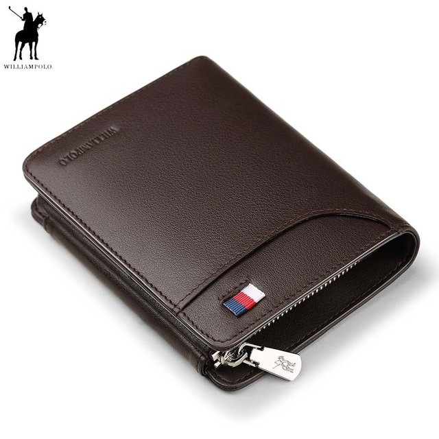 69e1cf030640 WILLIAMPOLO Genuine Leather Men Wallets Luxury Brand Trifold Wallet Zip Coin  Pocket Purse Cow Leather Wallet