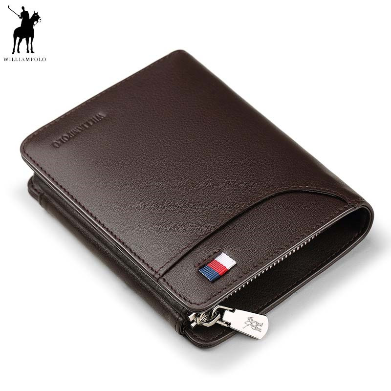 WILLIAMPOLO Genuine Leather Men Wallets Luxury Brand Trifold