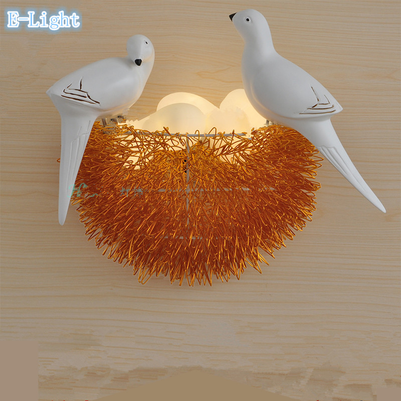 Colorful bird nest led wall lamp with 3d birds art lamp - Wandleuchte baby ...