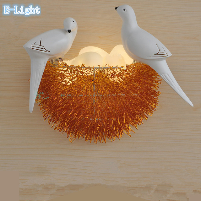 Colorful bird nest led wall lamp with 3d birds art lamp child room colorful bird nest led wall lamp with 3d birds art lamp child room bird house design aloadofball Image collections