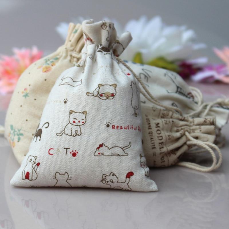 1 Pcs Linen Jute Sack Jewelry Pouch Drawstring Favor Gift Bags Holder