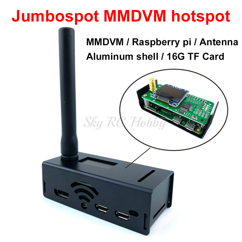 Jumbospot MMDVM hotspot + Raspberry pi +Antenna + OLED + Black Case + 16G TF card READY TO QSO Support P25 DMR YSF(China)