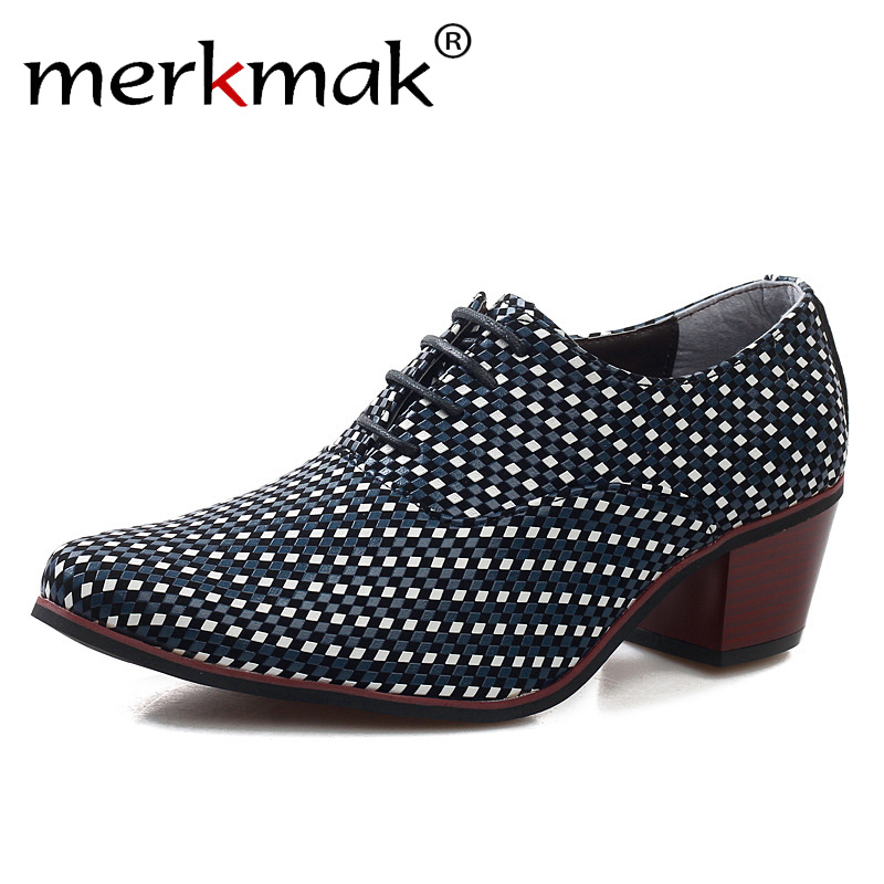 Merkmak Leather Men Dress Shoes Fashion Pointed Toe High Heels Oxford Shoes Heighten Heels Party Prom Bar Wedding