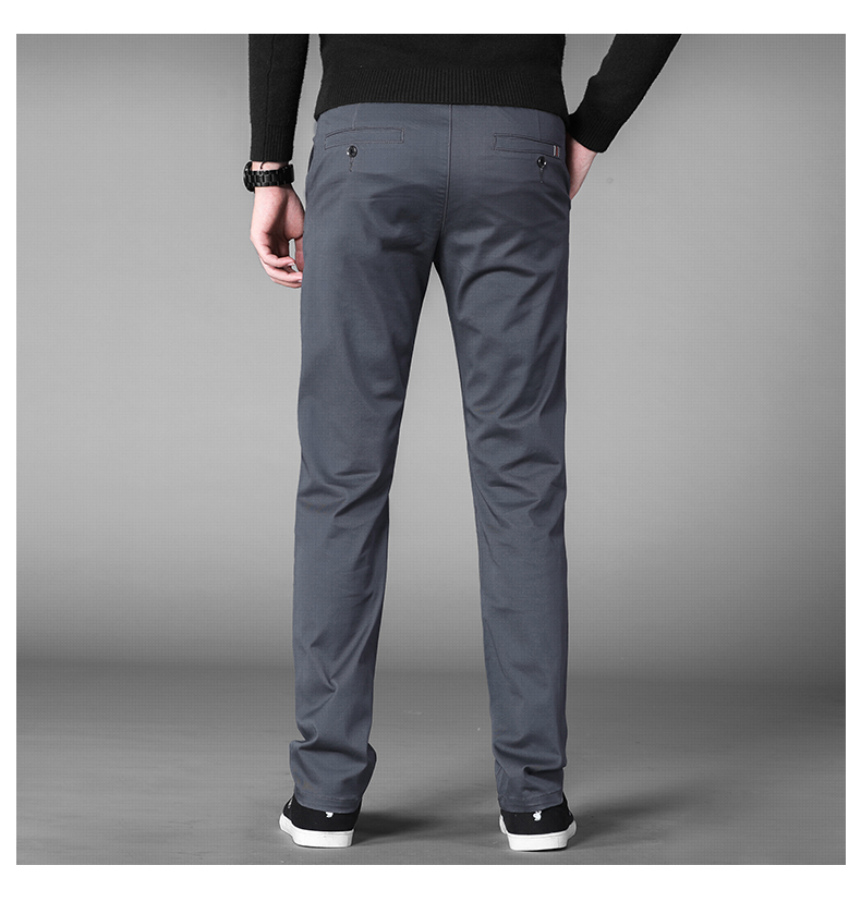 HTB1O33taiHrK1Rjy0Flq6AsaFXah 4 Colors Casual Pants Men Classic Style 2019 New Business Elastic Cotton Slim Fit Trousers Male Gray Khaki Plus Size 42 44 46