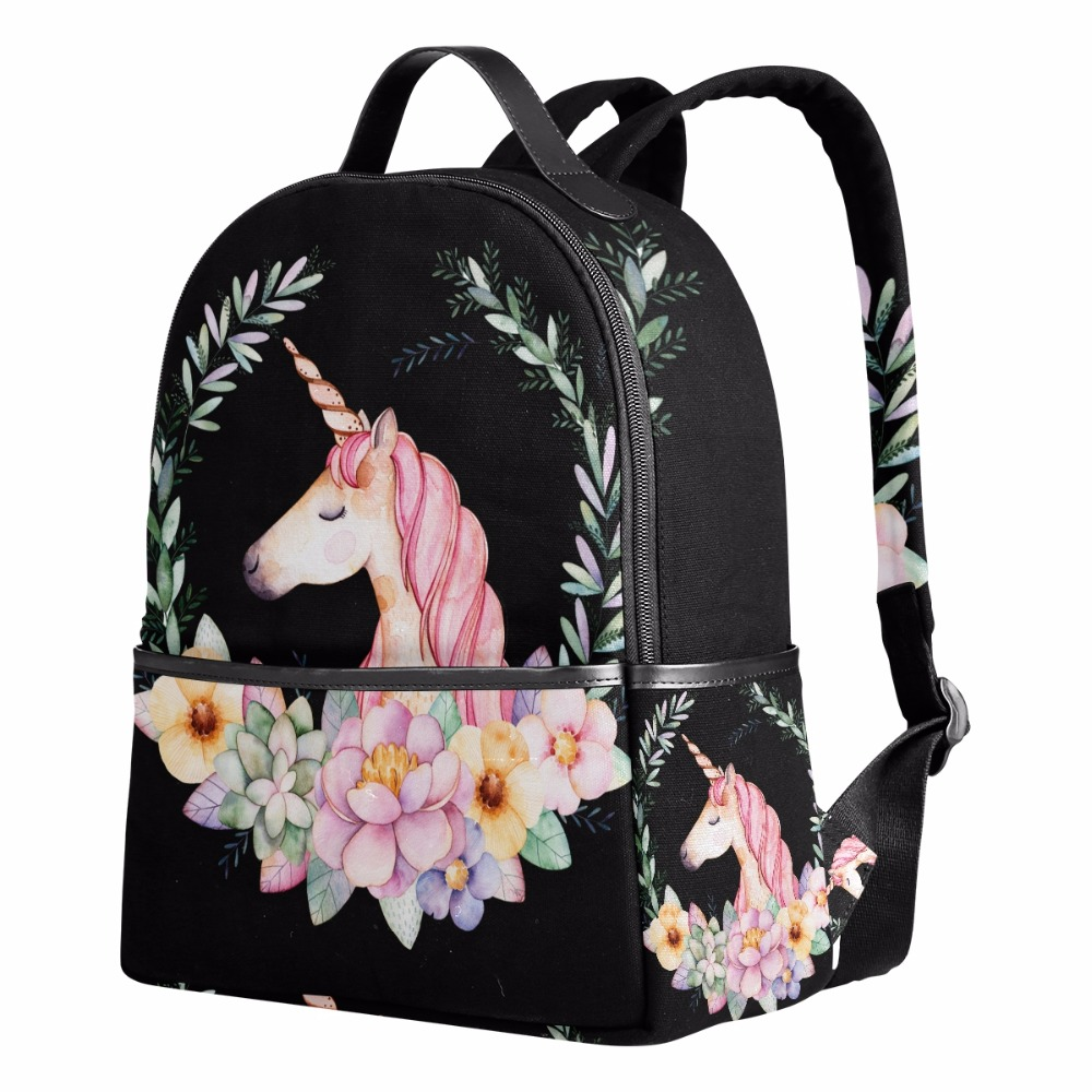 a55473fce947 New Canvas Backpacks Women Pretty Unicorn Flowers School Backpack Bags for  Boys Girls Cute Cartoon Animal Backpack Gift for Kids-in Backpacks from  Luggage ...