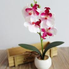Four Head Butterfly Orchid Meaty Plant Bonsai Artificial Flower Home Decoration Set