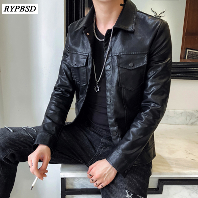 71427d5300ddd5 2019 Autumn Winter New Trend Design Single Breasted Men's Motorcycle Leather  Jacket Biker Faux Leather Black Jacket Coat M-XXL