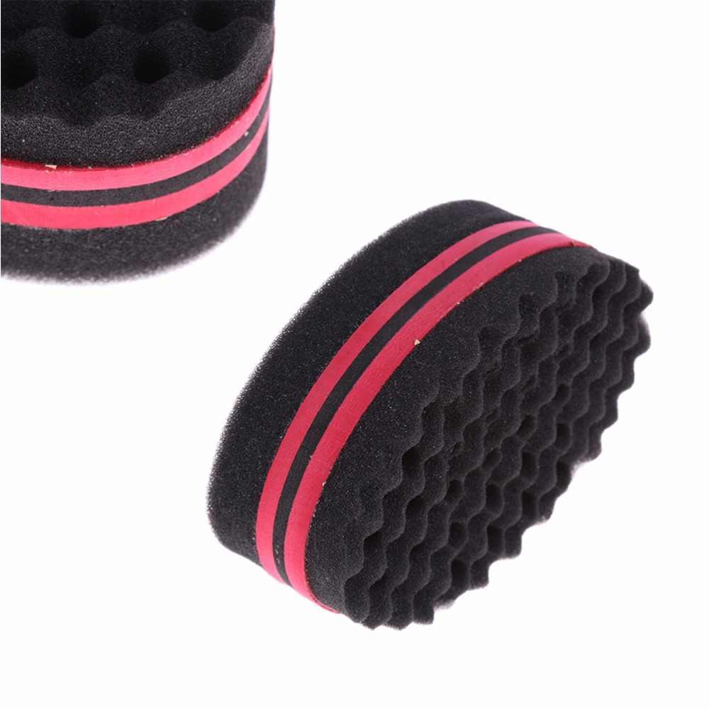 חדש סגלגל כפול צדדי שטוח גדול חור, גלי קטן חור קסם טוויסט שיער מברשת ספוג, אפרו קרלי weave צמות ספוג מברשת