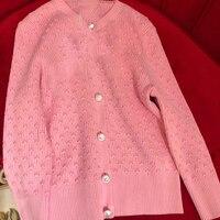 Для женщин леди кардиганы для мода с длинным рукавом О образным вырезом 2019 Высокое качество свитер для женщин для Удлиненный свитер